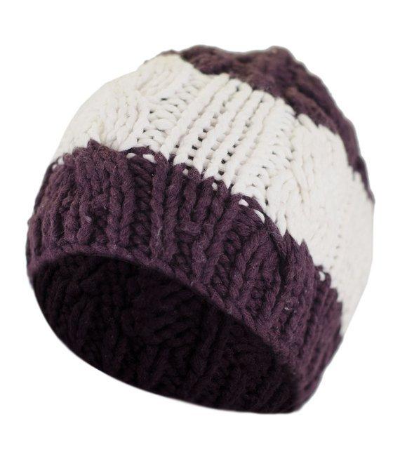 Ciepła zimowa czapka w pasy wełna-bawełna