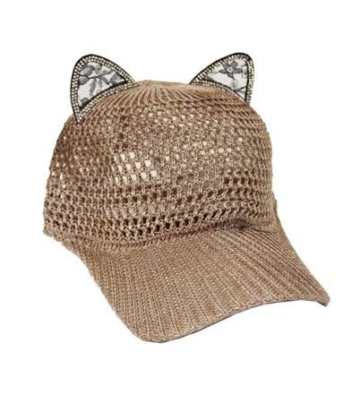 Czapka z daszkiem bejsbolówka uszy kota