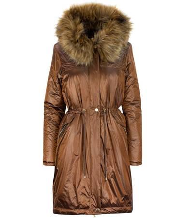 Metaliczny płaszcz zimowy parka FUTRO