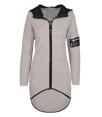Modny asymetryczny sweter a;la płaszcz