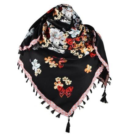 Piękna Chusta w Kwiaty FOLK bawełna